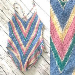 Vintage 1980's pastel rainbow chevron swimsuit